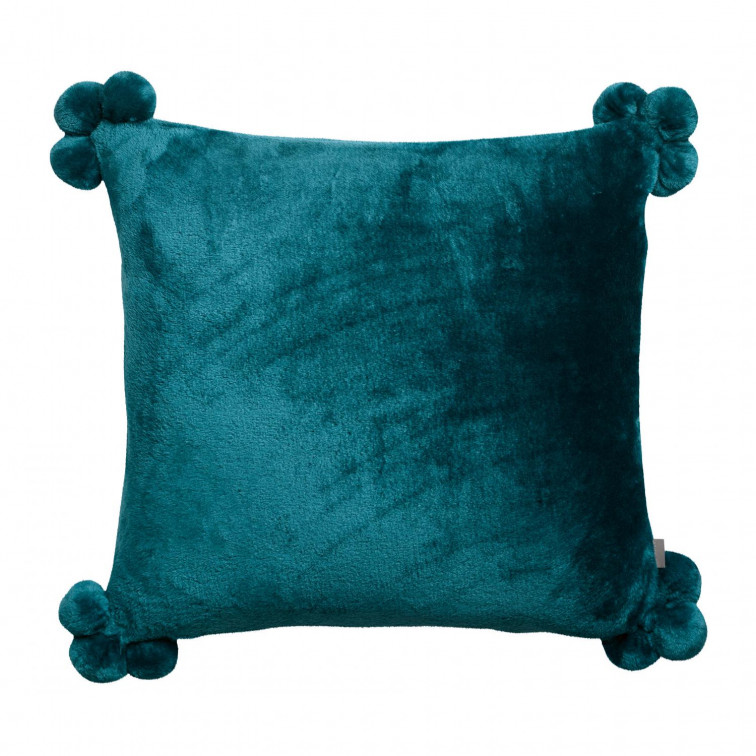 Coussin Tender pompons Paon 45 x 45