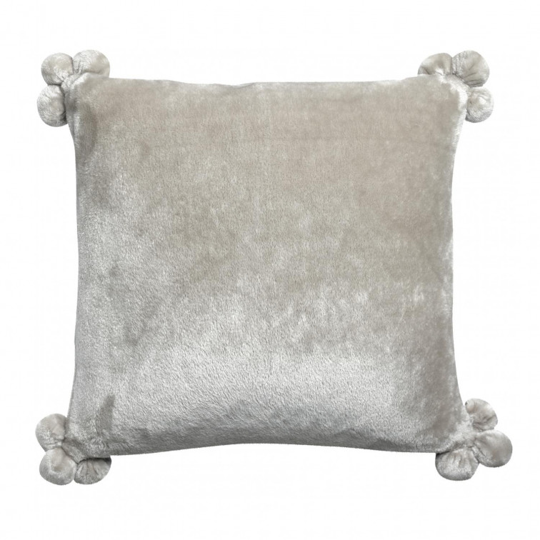 Coussin Tender pompons Perle 45 x 45