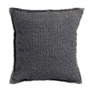 Coussin stonewashed Maia Chambray Carbone 45 x 45