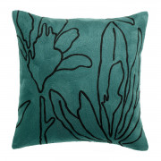 Coussin Anime Flore brodé Prusse 45 x 45