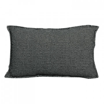 Coussin stonewashed Maia Chambray Carbone 30 x 50