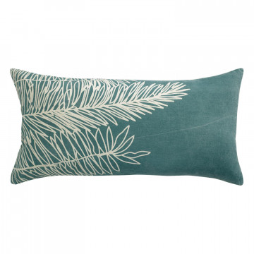 Coussin Stonewashed Zeff Palm Prusse 55 x 110