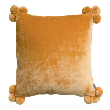 Coussin Tender pompons Ocre 45 x 45